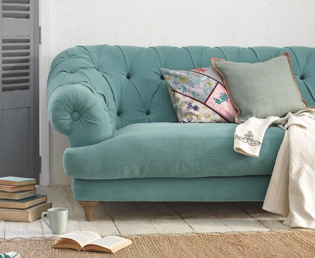 Attractive Bagsie Sofa In Ocean Vintage Linen Home