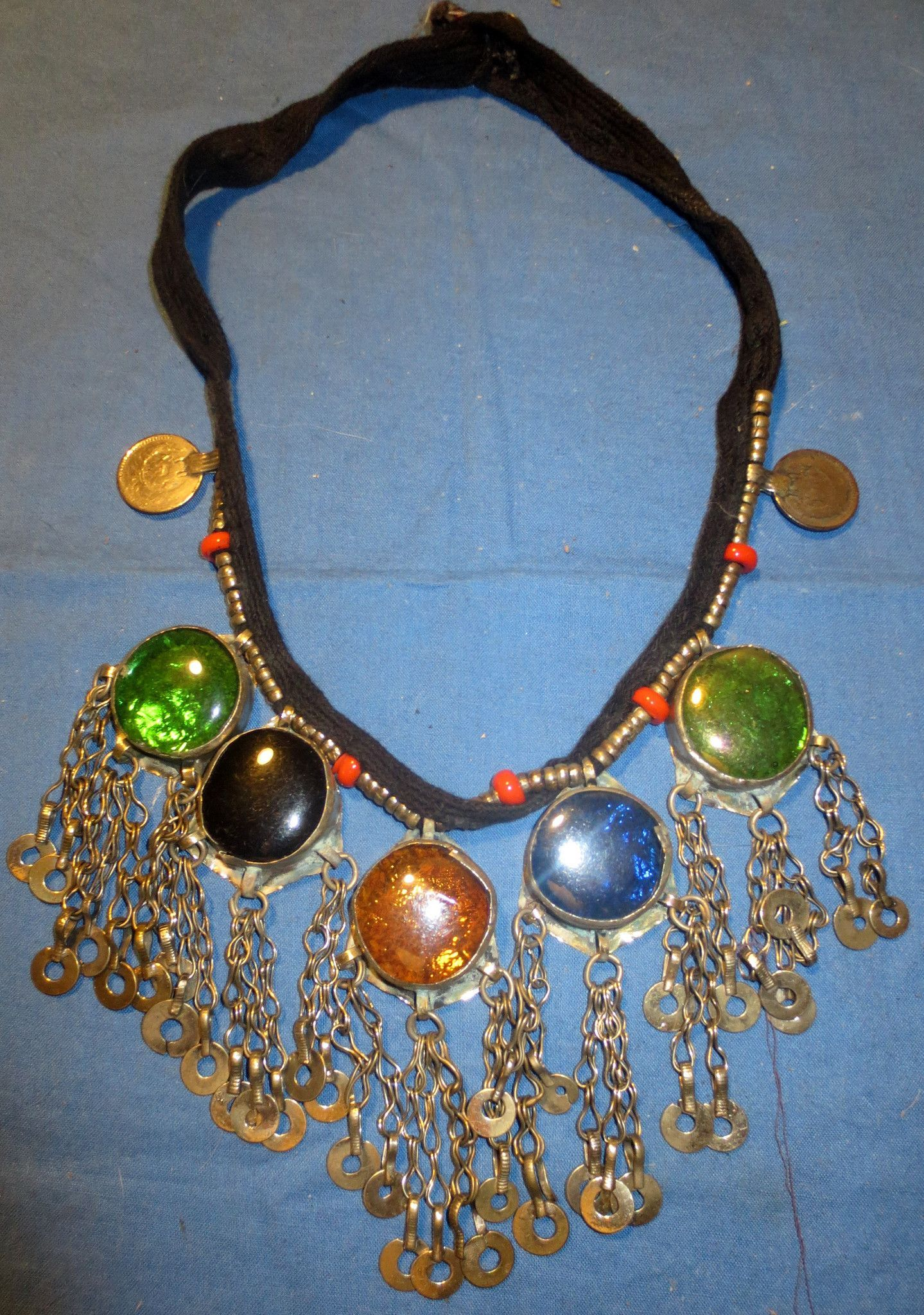 Necklace Black String Gemstone Afghan Kuchi Coin Tribal Alpaca Silver Belly Dance 22""