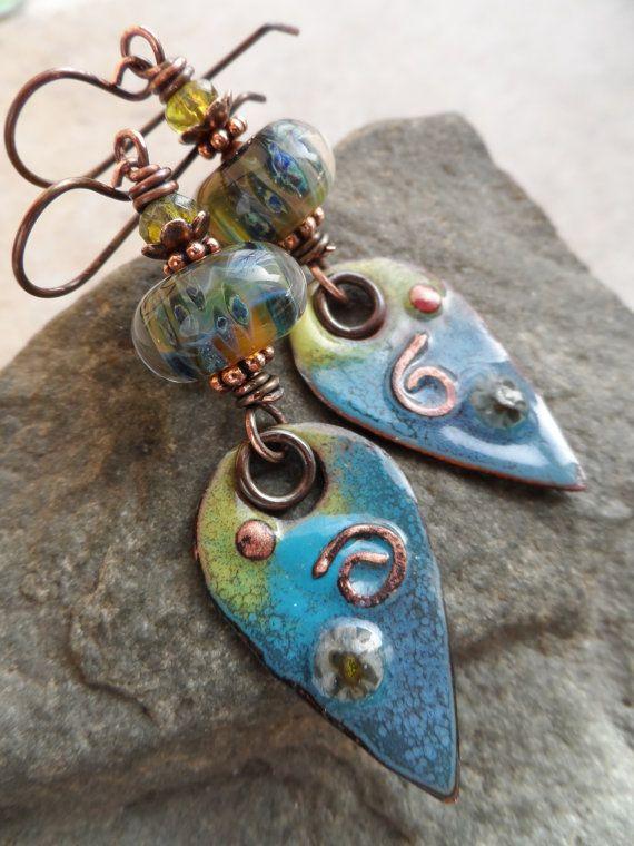 Blue Lagoon ... Enameled Copper Lampwork and Copper by juliethelen