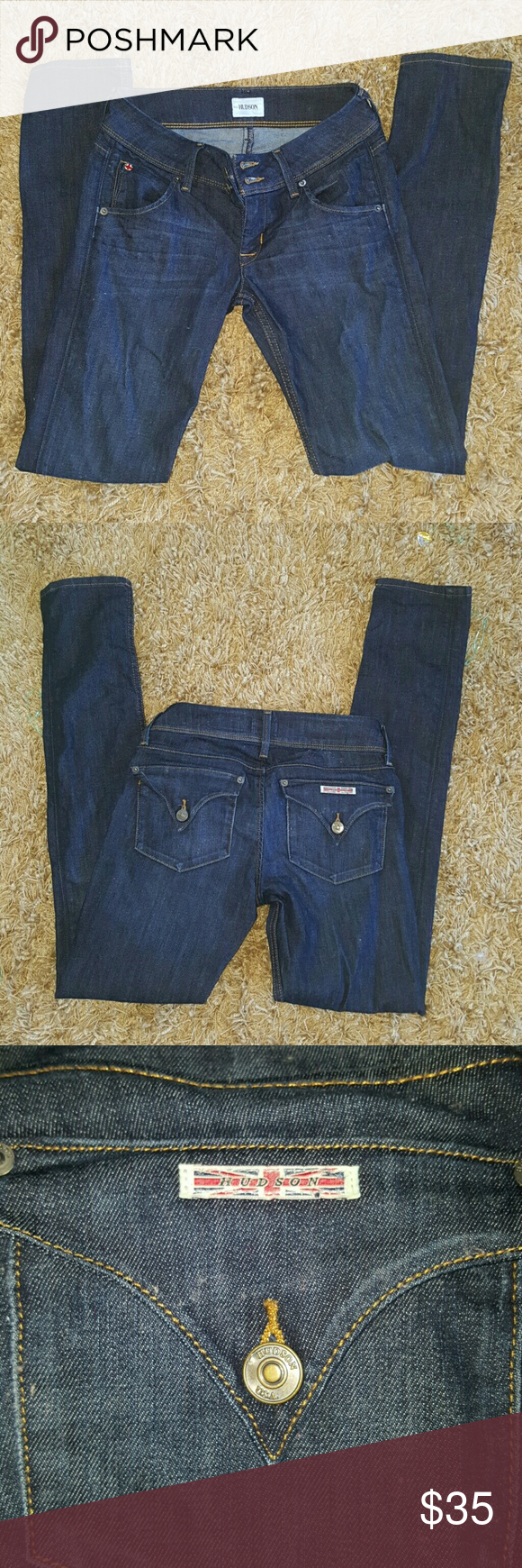 """Hudson Jeans Collin Flap Skinny Jeans EUC, worn only a handful of times.  Washed/air dried and ready for a new home. Color # Geno,  style # 7939-00. Hudson Collin Flap Skinny Jeans size 25 inseam 31"""". Hudson Jeans Jeans Skinny"""