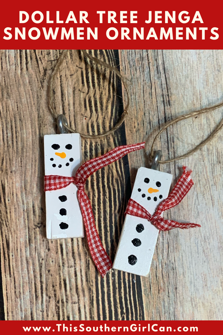 Dollar Tree Jenga Snowmen Ornaments