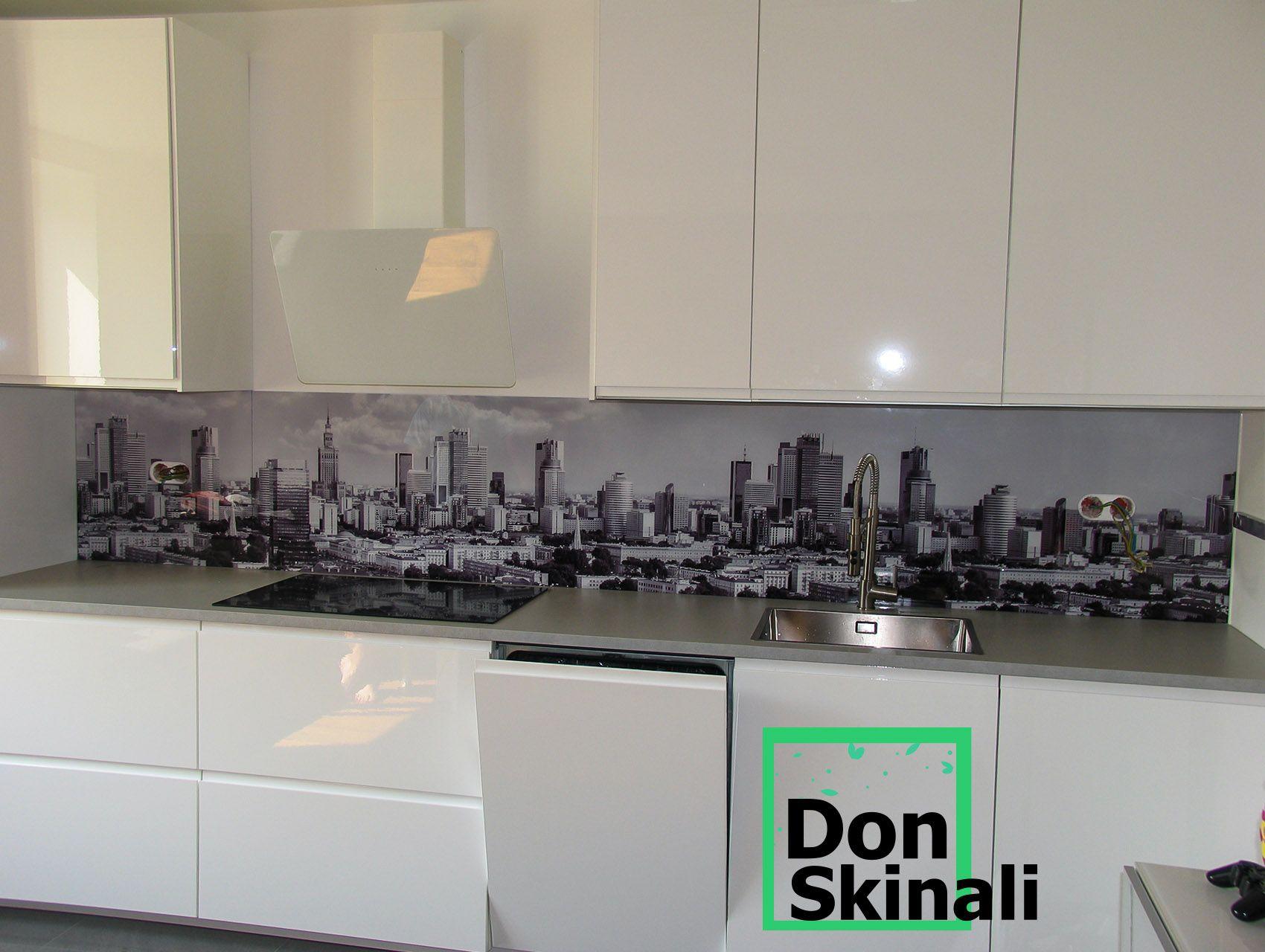 Wzor Na Szkle Czarno Biale Miasto Decor Kitchen Cabinets Kitchen