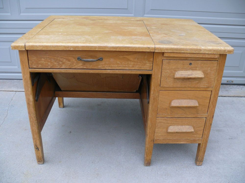 antique typewriter desk solid oak 1940s same owner since 1969 rh pinterest com