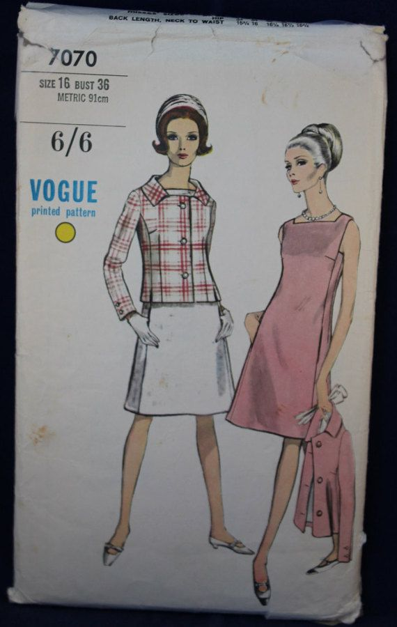 1960\'s Vogue Sewing Pattern for Dress and Jacket in Size 16 - Vogue ...
