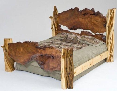 rustic log bed unique exotic wood juniper live edge rh pinterest it