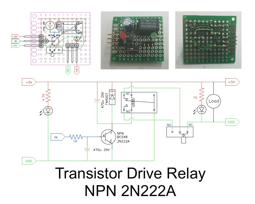 Transistor Drive Relay Npn 2n222a Diy Electronic Project Electronics Projects Circuit Diagram