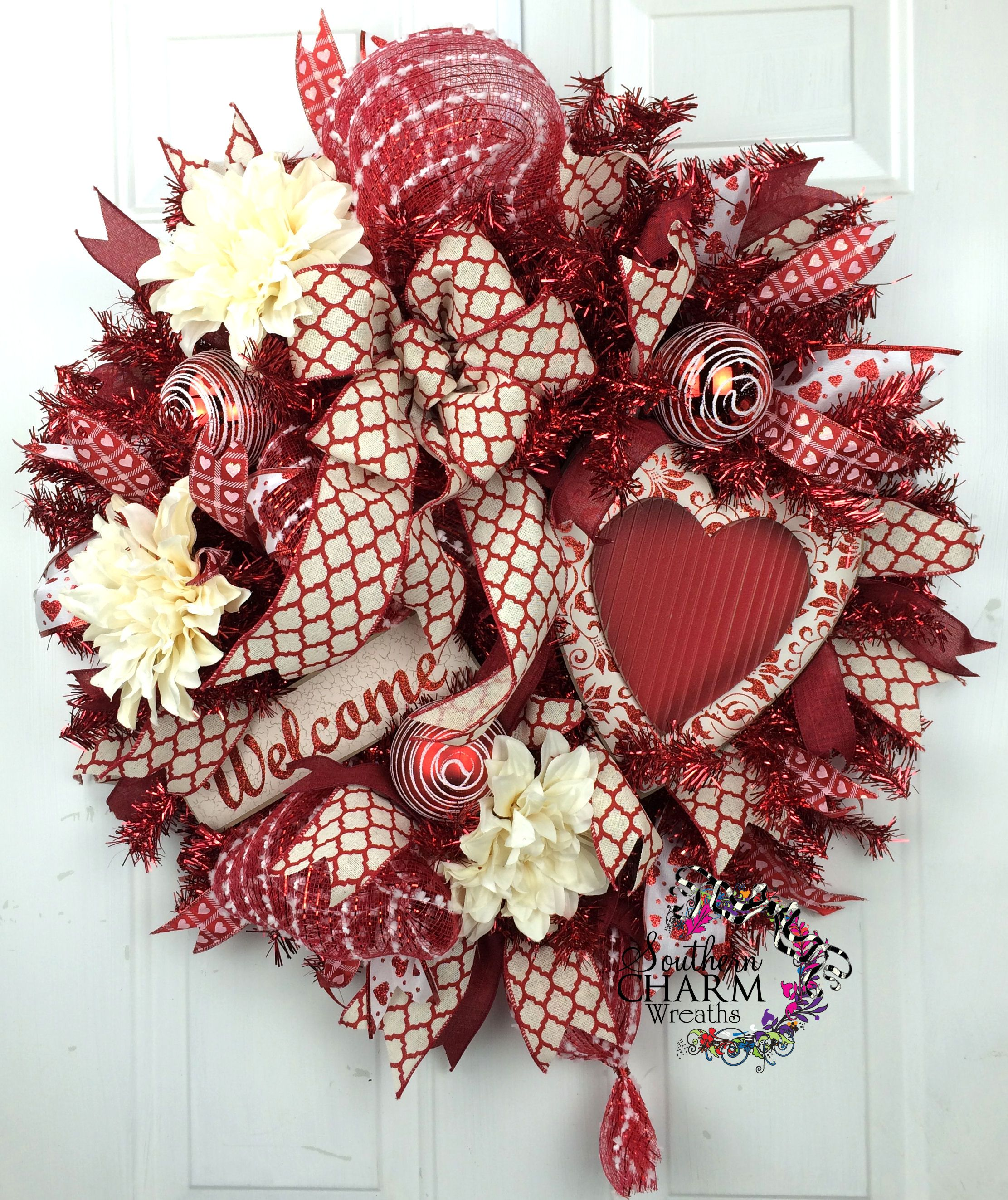 Deco Mesh Valentines Wreath with Red White Heart Welcome Sign -Door Wreath -Valentines Day Decor -Deco Mesh Wreath by southerncharmwreaths.com #valentinesday #door #wreath