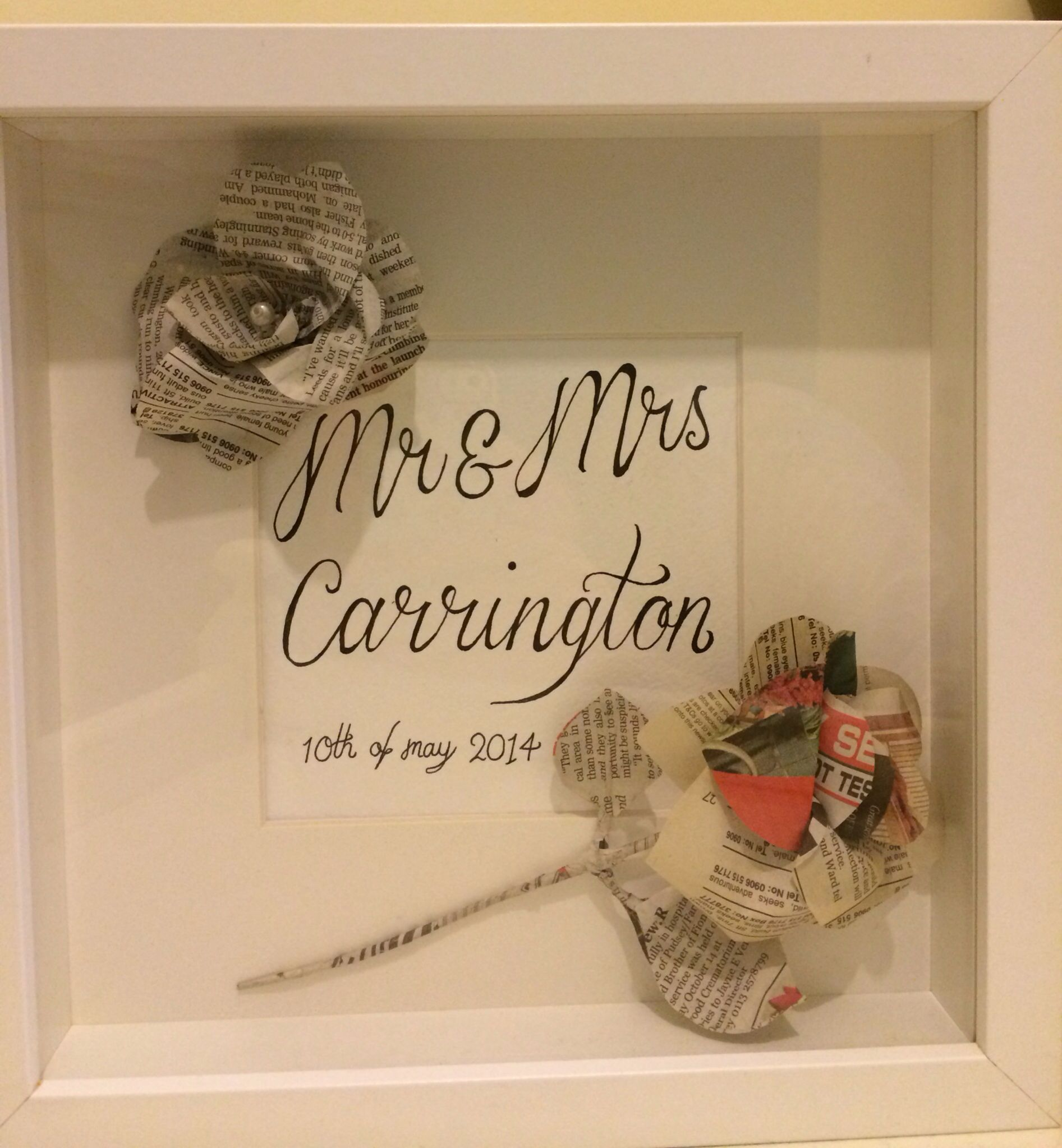 Box frame wedding gift, made to order for any occasion by lajenahdesigns/Facebook