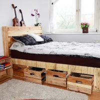 Small Bed Room With Rustic Wood Bed With Headboard And Storage