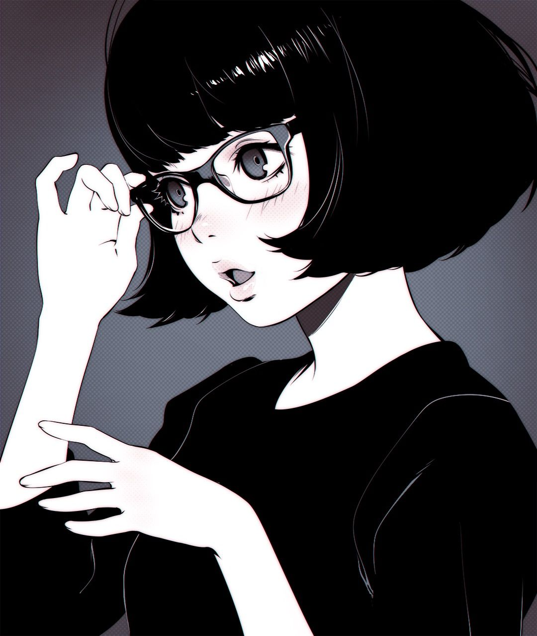 anime girl short hair glasses black style ngh� thu��t