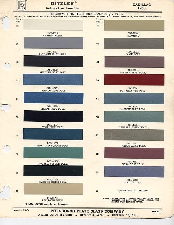 1960 Cadillac Colors Car Colors Pinterest Cadillac Cars And