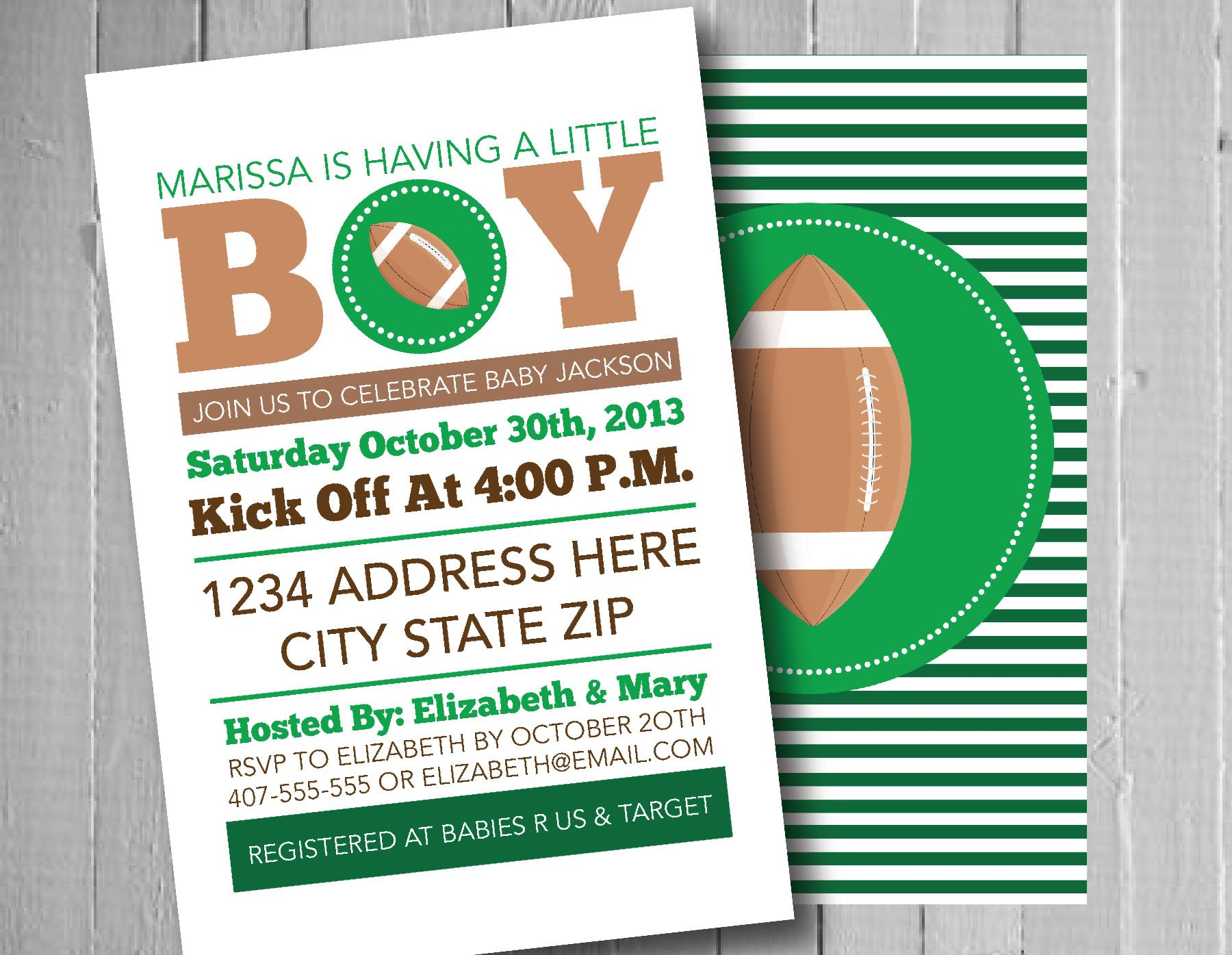 football baby shower invitation, sports baby shower, football, Baby shower invitations