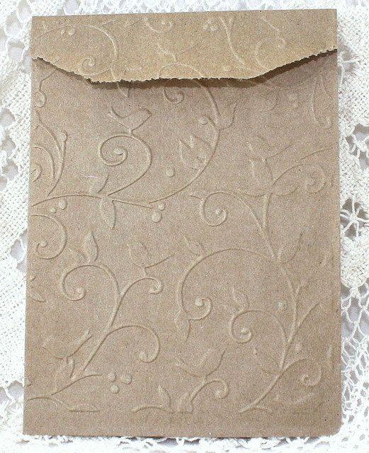 50 Kraft Paper Bags Embossed Birds Vine 4 x 6 by