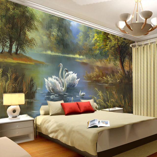 Bedroom Wall Decor 3d Bedroom Bed Arrangement Bedroom Decor For Christmas Bedroom Mezzanine: Elegant Swan Lake Wallpaper 3D Photo Wallpaper Custom Wall