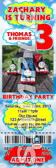 THOMAS THE TRAIN TICKET STYLE INVITATIONS (WITH ENVELOPES)