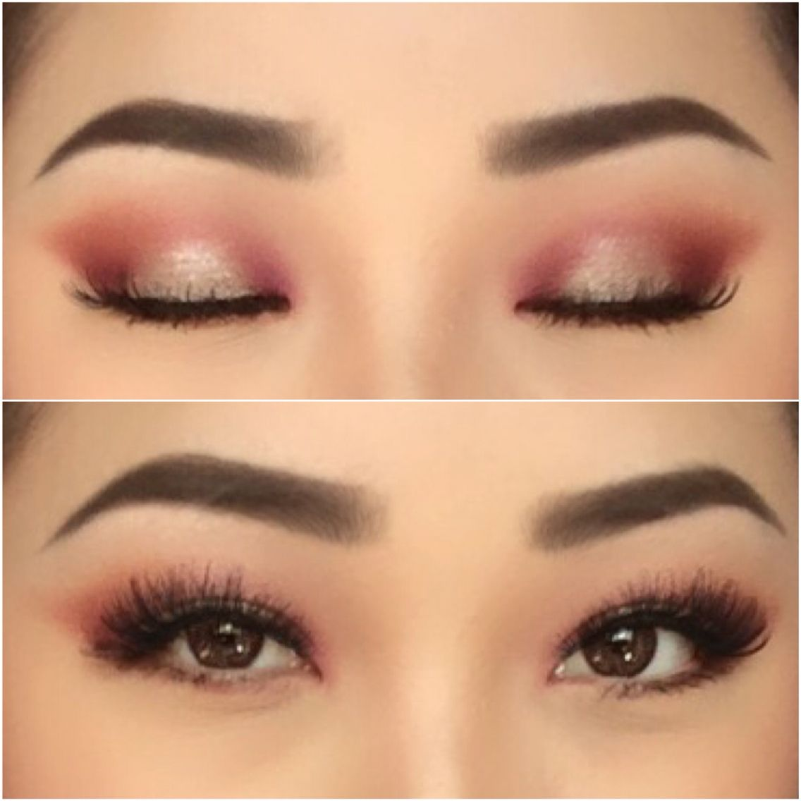 Make Up For Asian Eyes Pink And Burgundy Halo With Shimmer
