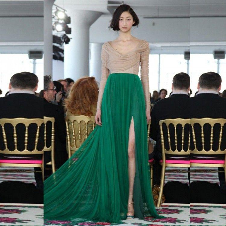 Aliexpress Com اشتري الأحمر الداكن بسيطة أنيقة فساتين السهرة الطية بأكمام طويلة خمر أثواب السهرة تول الناعمةانس الجانب انق Fashion Pretty Dresses Fashion Week