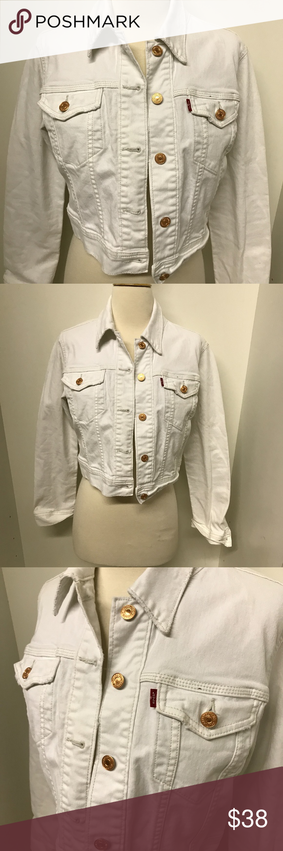 Levi S White Crop Jean Jacket Rose Gold Buttons Cropped White Jeans Crop Jean Jacket Jean Jacket [ 1740 x 580 Pixel ]