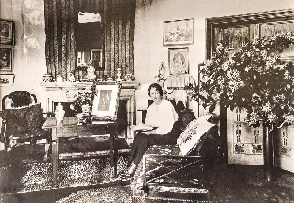 Karen pictured at her Bogani House (Karen Blixen museum) study.