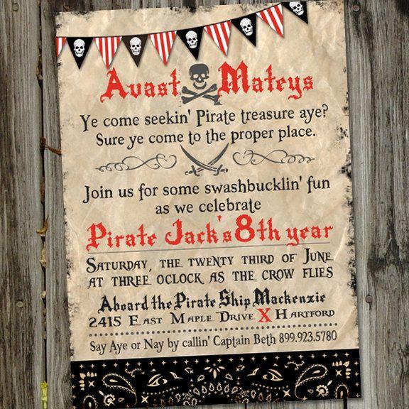 Avast Matey Pirate Treasure Hunt Printable Birthday Invitation – Treasure Hunt Party Invitations