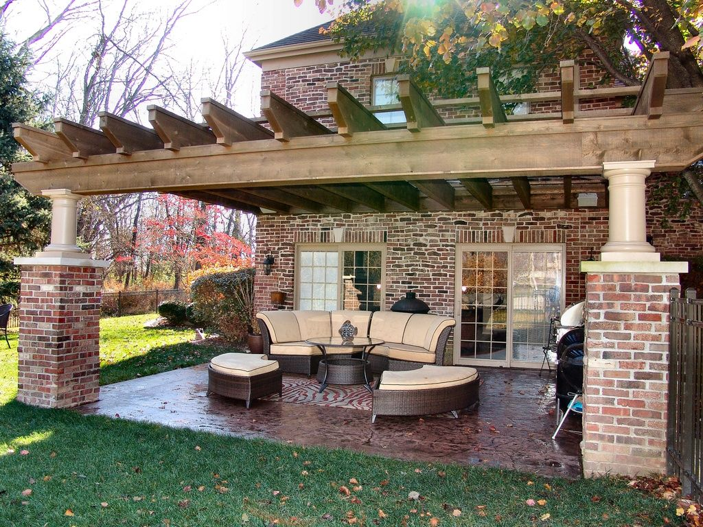 Traditional Porch With French Doors Trellis Wood Pergola Old Mill Brick Castle Gate Brickweb Thin Flats