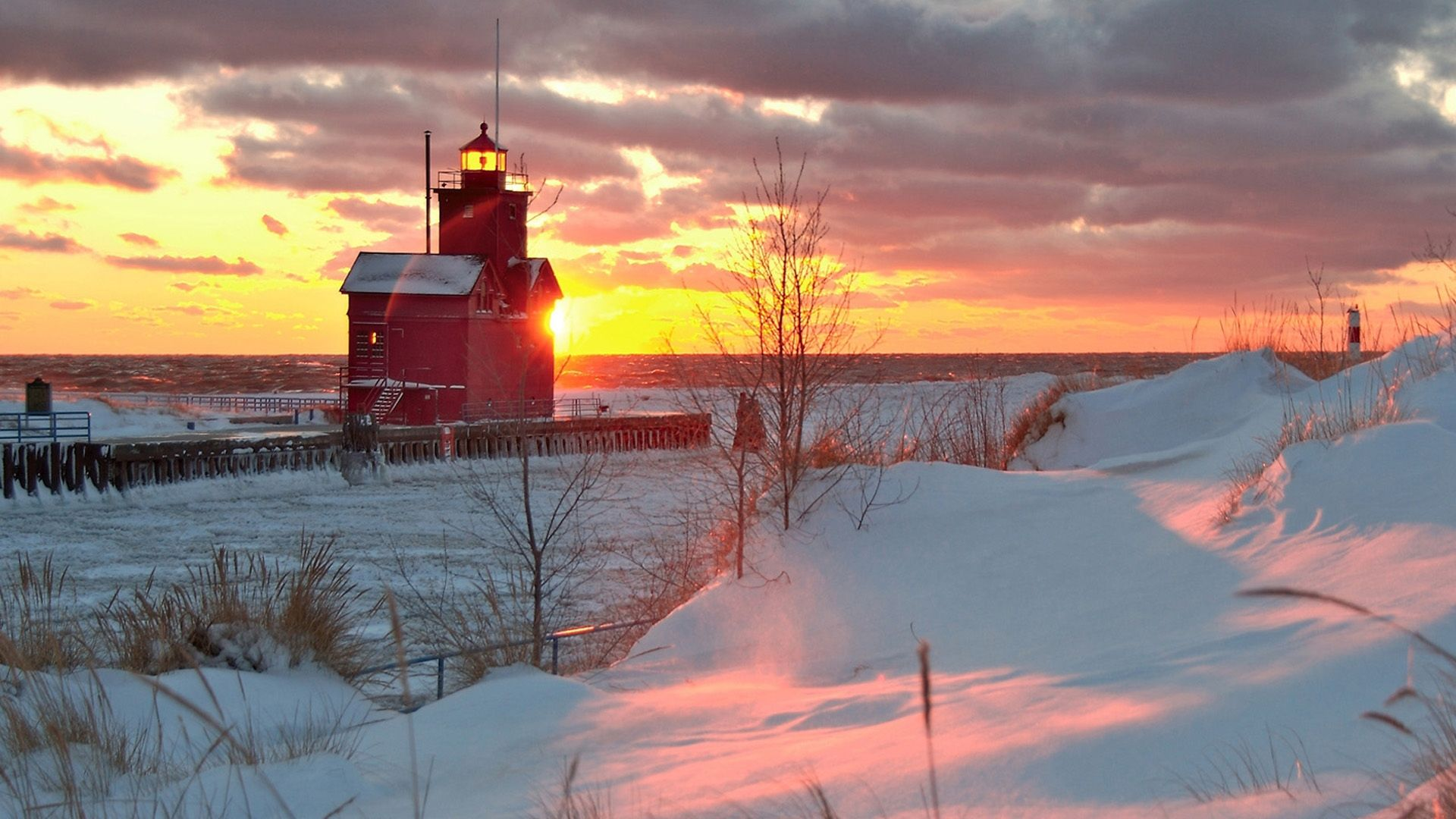 beautiful red lighthouse on a winter morning hd desktop background rh pinterest co kr