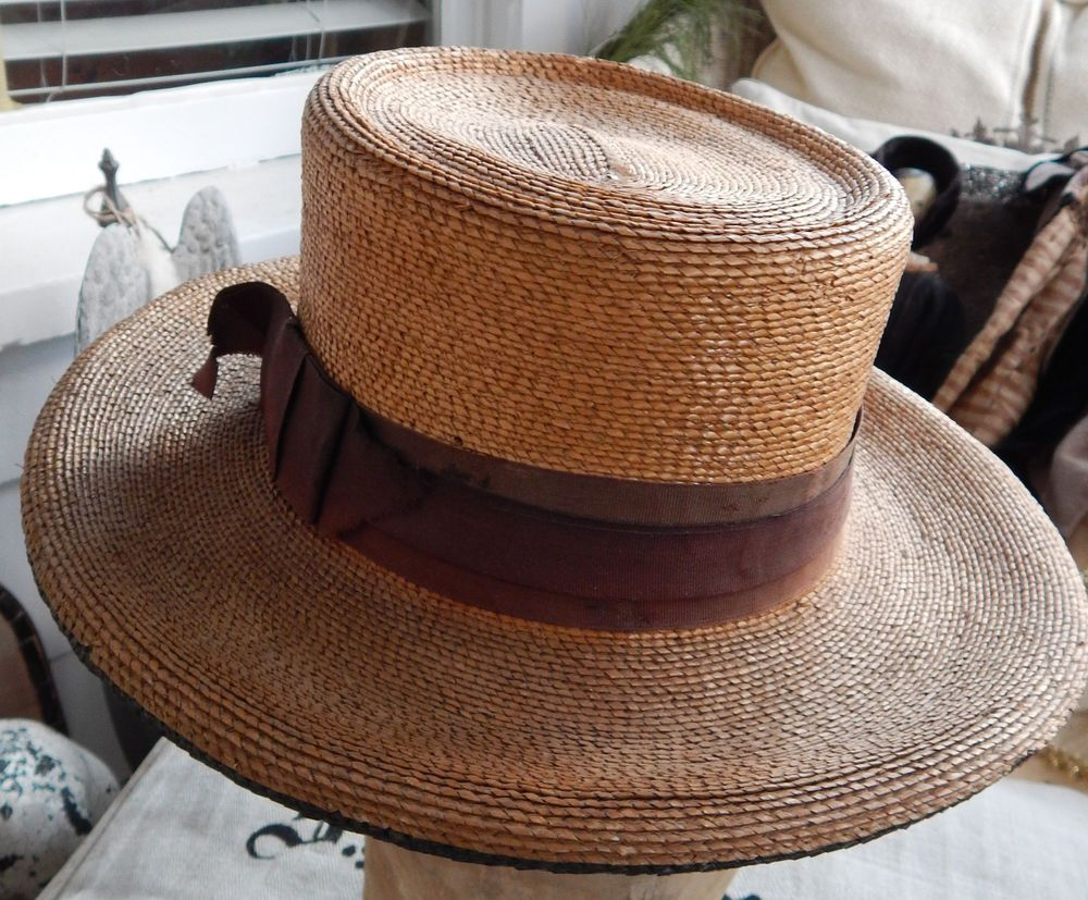 Antique Nineteenth Century Early Rare Men s Straw Hat  132a3f37ce7