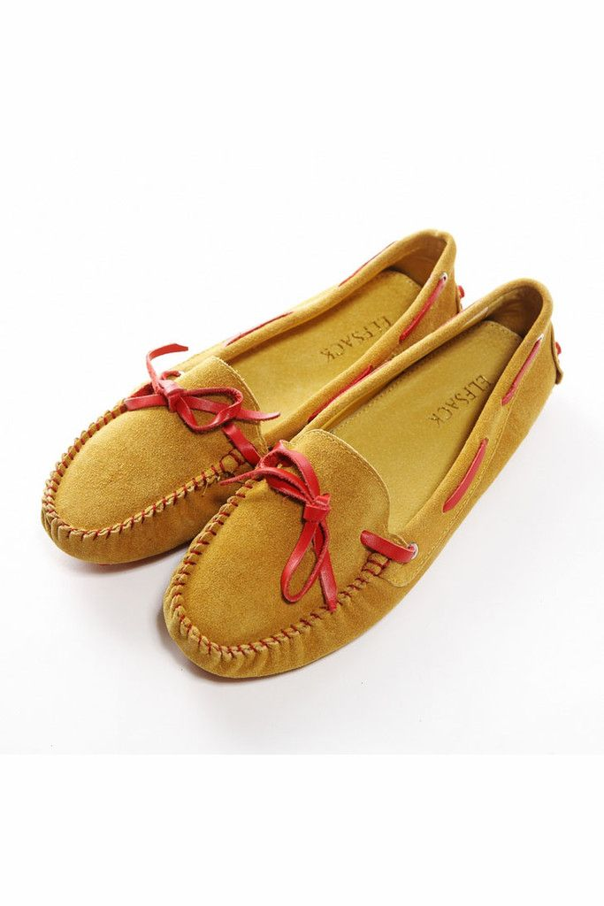 50eb53f345b Womens All-match Moccasin Gommino Leather Yellow Shoes