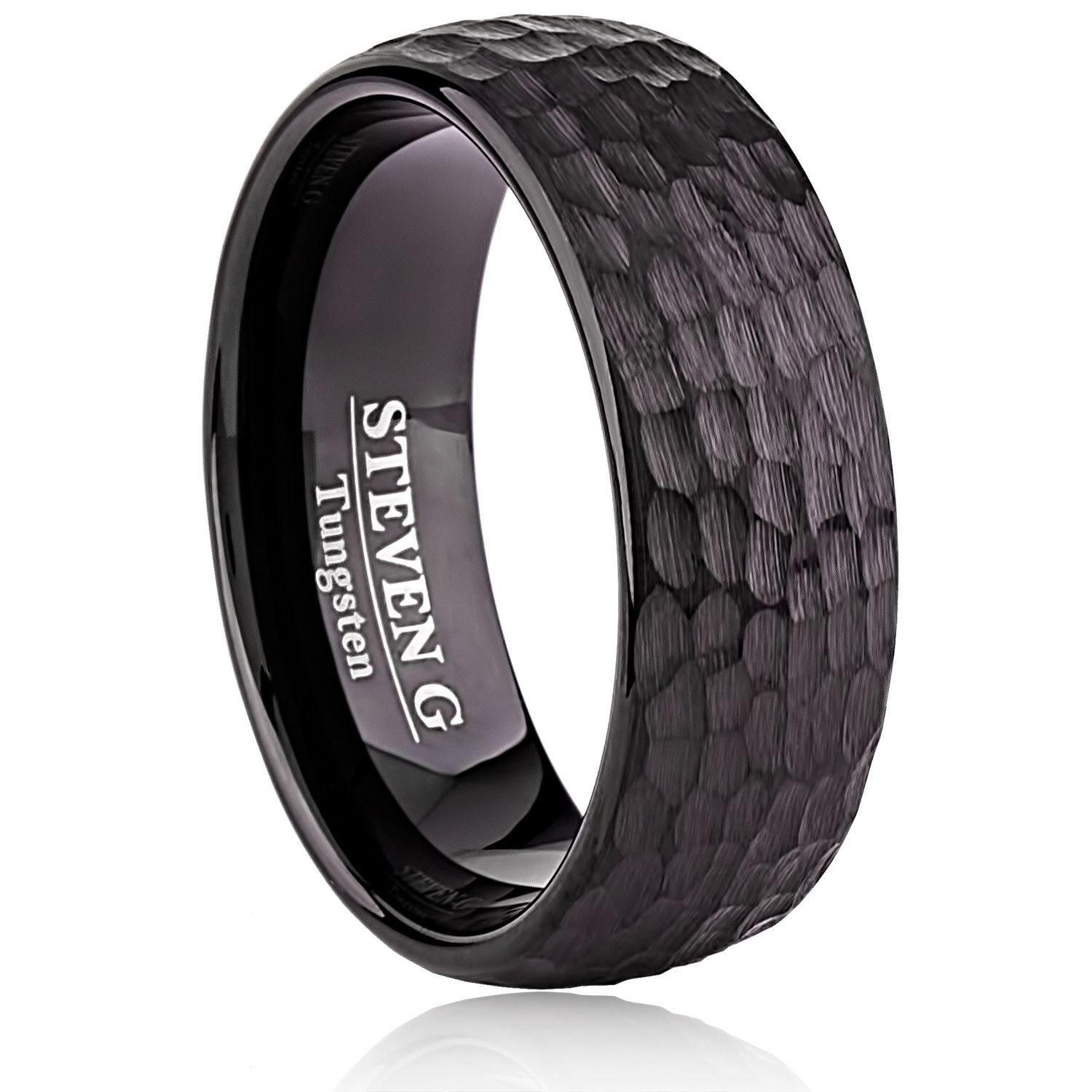 Black Tungsten Mens Wedding Band 8mm with Hammer and