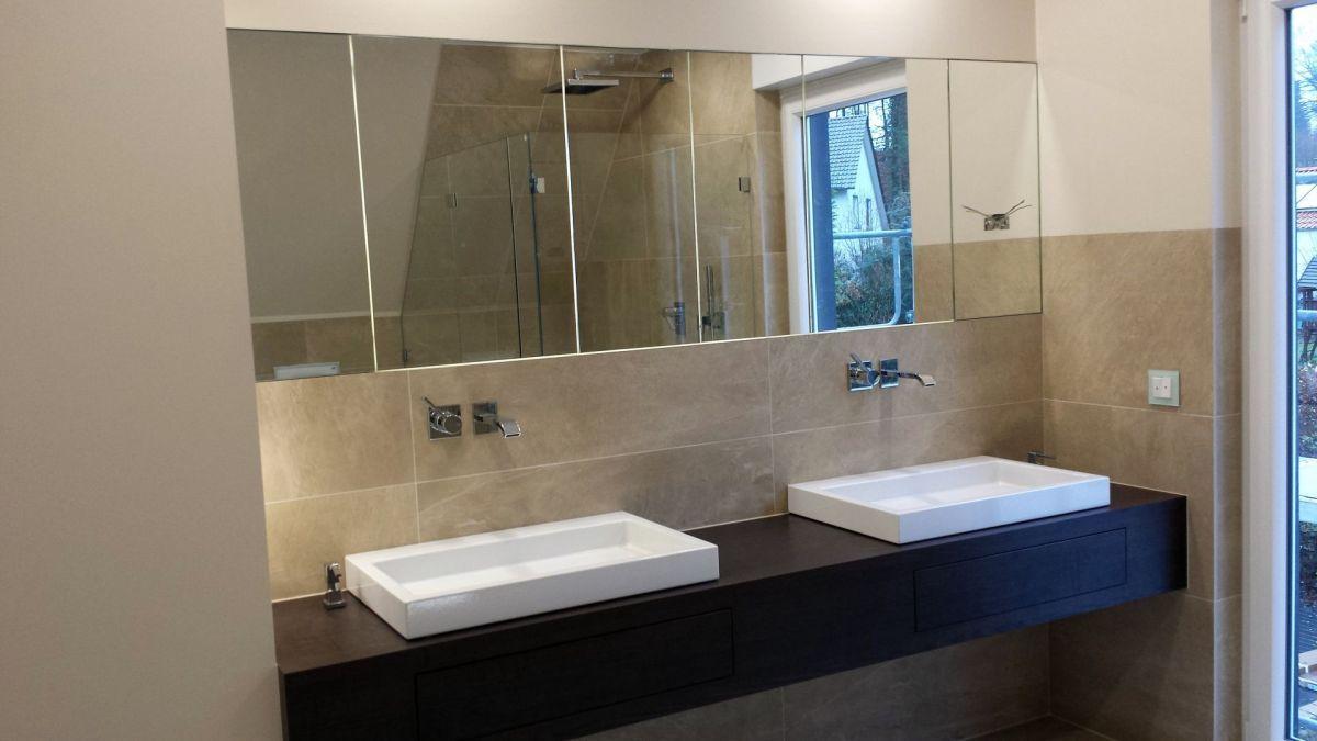 Waschtisch Eiche Dekorplatte mit Spiegelschrank