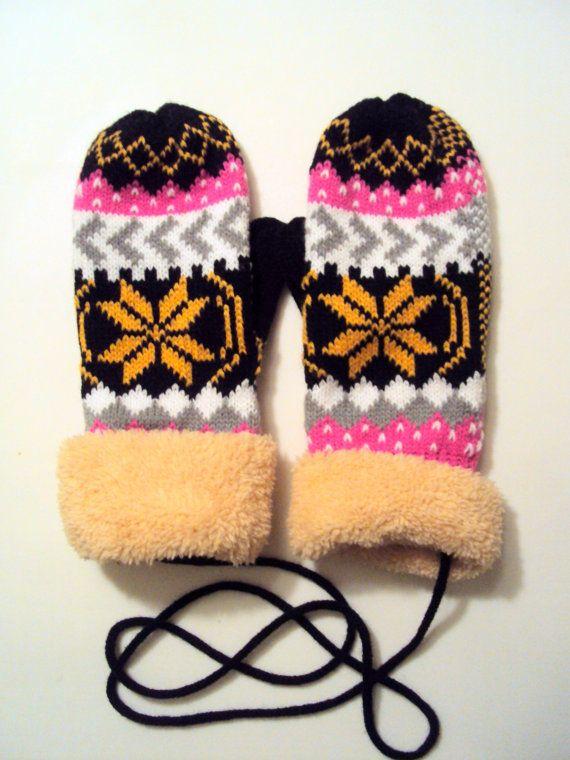 Snowflake Mittens Knit Winter Gloves Fleece Lining Women ...