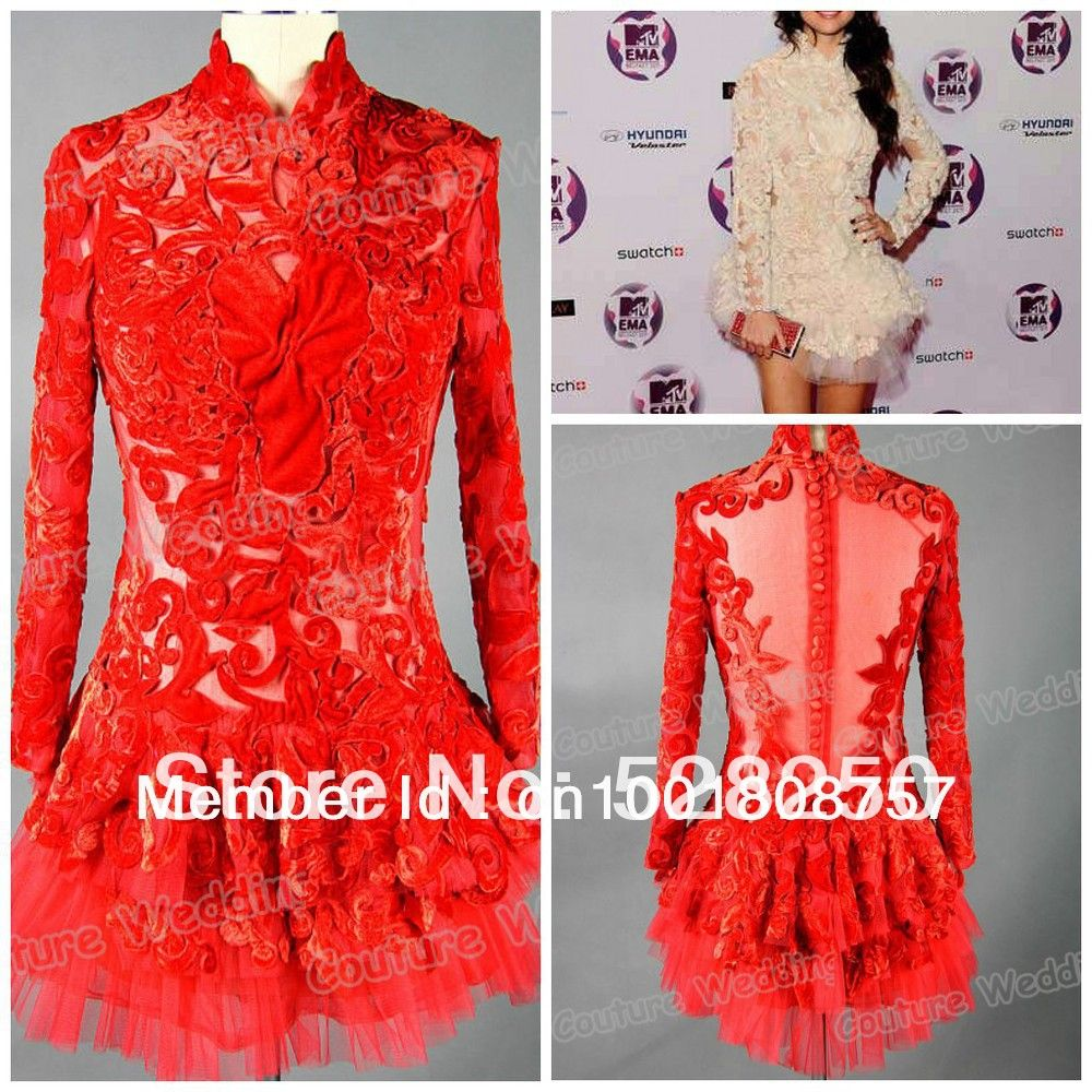 Real Sample Selena Gomez Mini Fashion High Neck Design Mini Backless Full Sleeve Applique Cap Sleeve Tulle Red Celebrity Dress