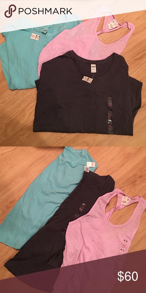 (3) Med. Victoria's Secret PINK Shirts NWT (3) Med. Victoria's Secret PINK Shirts NWT (2) Long Sleeve (1) Razor Back PINK Victoria's Secret Tops Tees - Long Sleeve