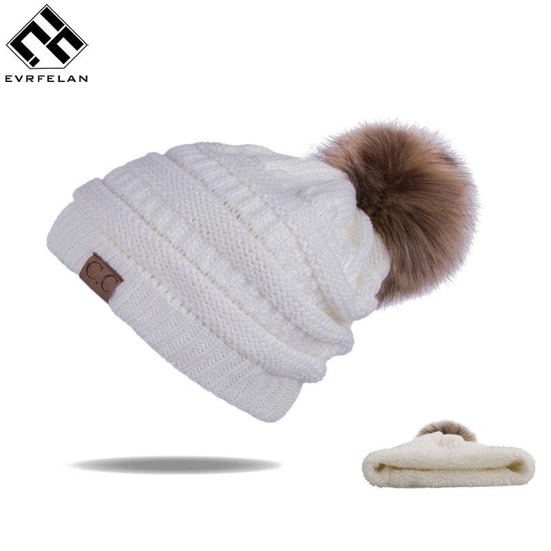 Neue Pom Poms Frauen Winter Hüte Casual Mützen Mode Häkeln Stricken