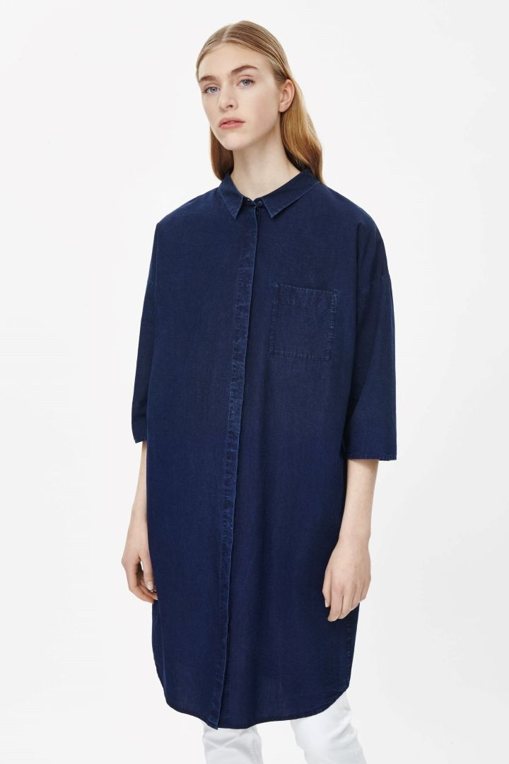 Indigo denim shirt dress