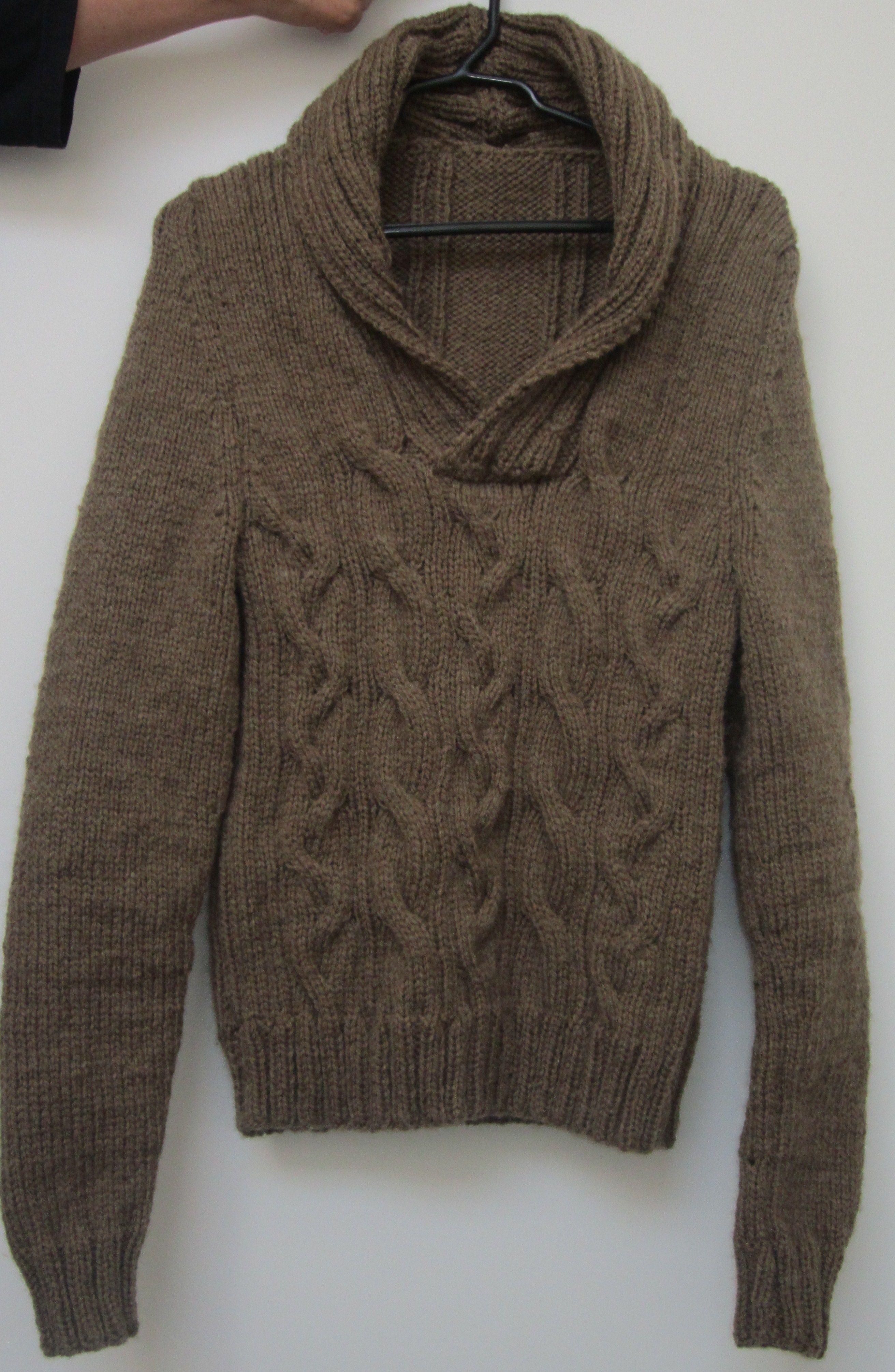 Saco tejido en dos agujas lana gruesa modelo para hombre - Puntos de lana a dos agujas ...