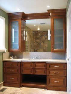 Image result for bathroom with upper cabinets