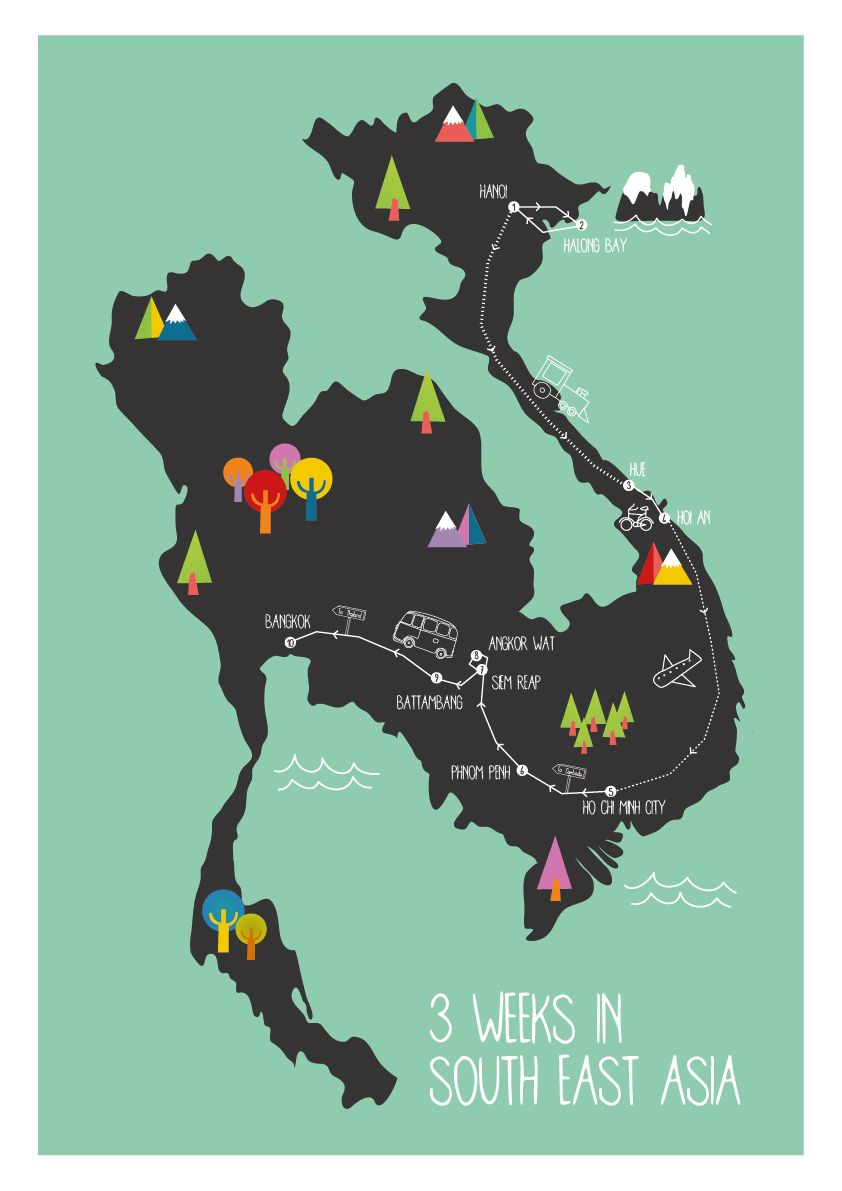 illustrated map south east asia illustrated map