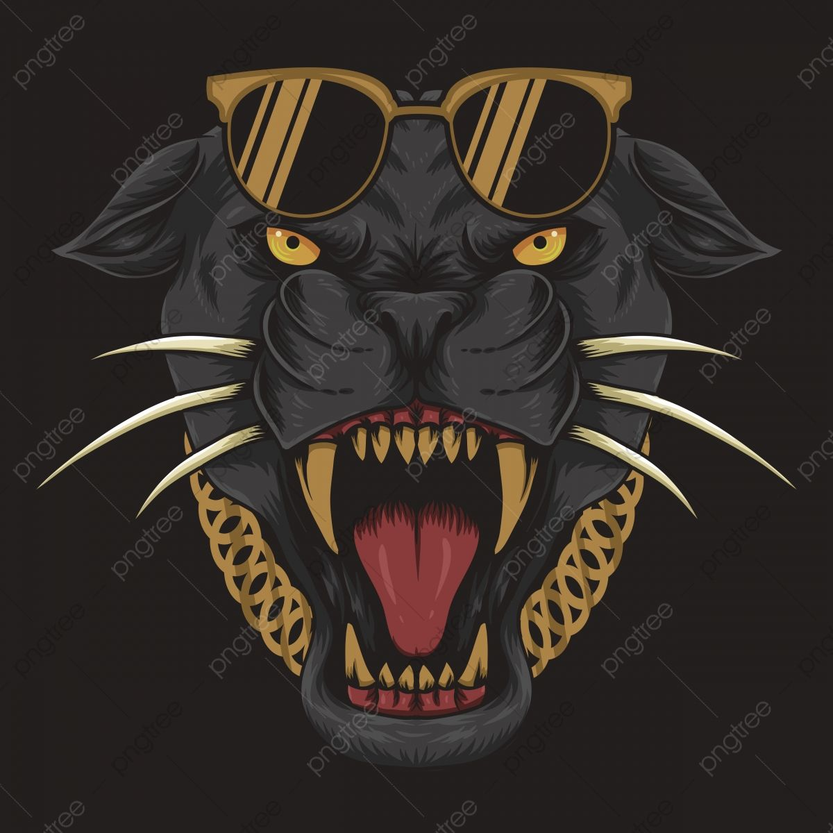 Cool Black Panther Vector Illustration, Angry, Animal, Art