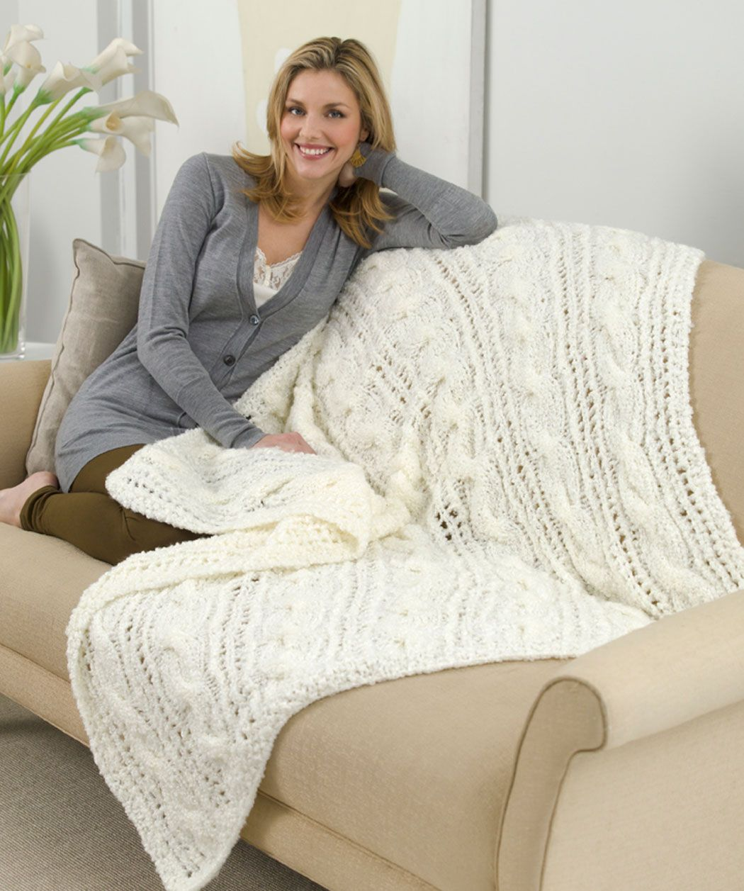 Dreamy Decor Throw Free Knitting Pattern from Red Heart Yarns | Knit ...