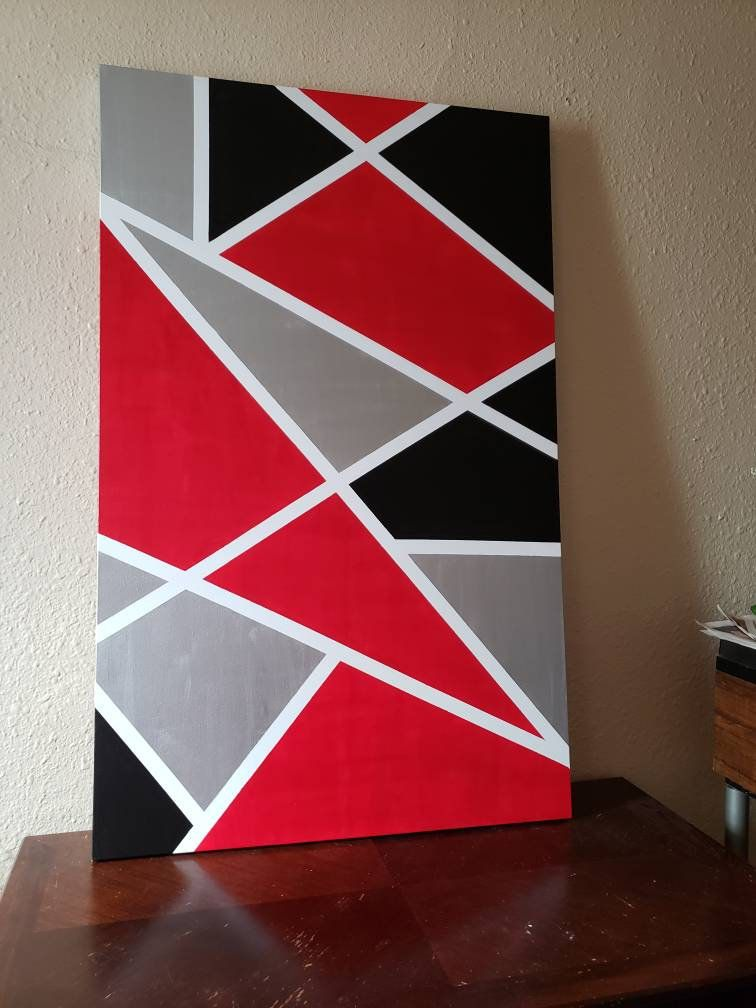 Abstract Red Black White Silver Canvas Art Wall Decor Wall Etsy Geometric Wall Paint Canvas Art Wall Decor Diy Wall Painting