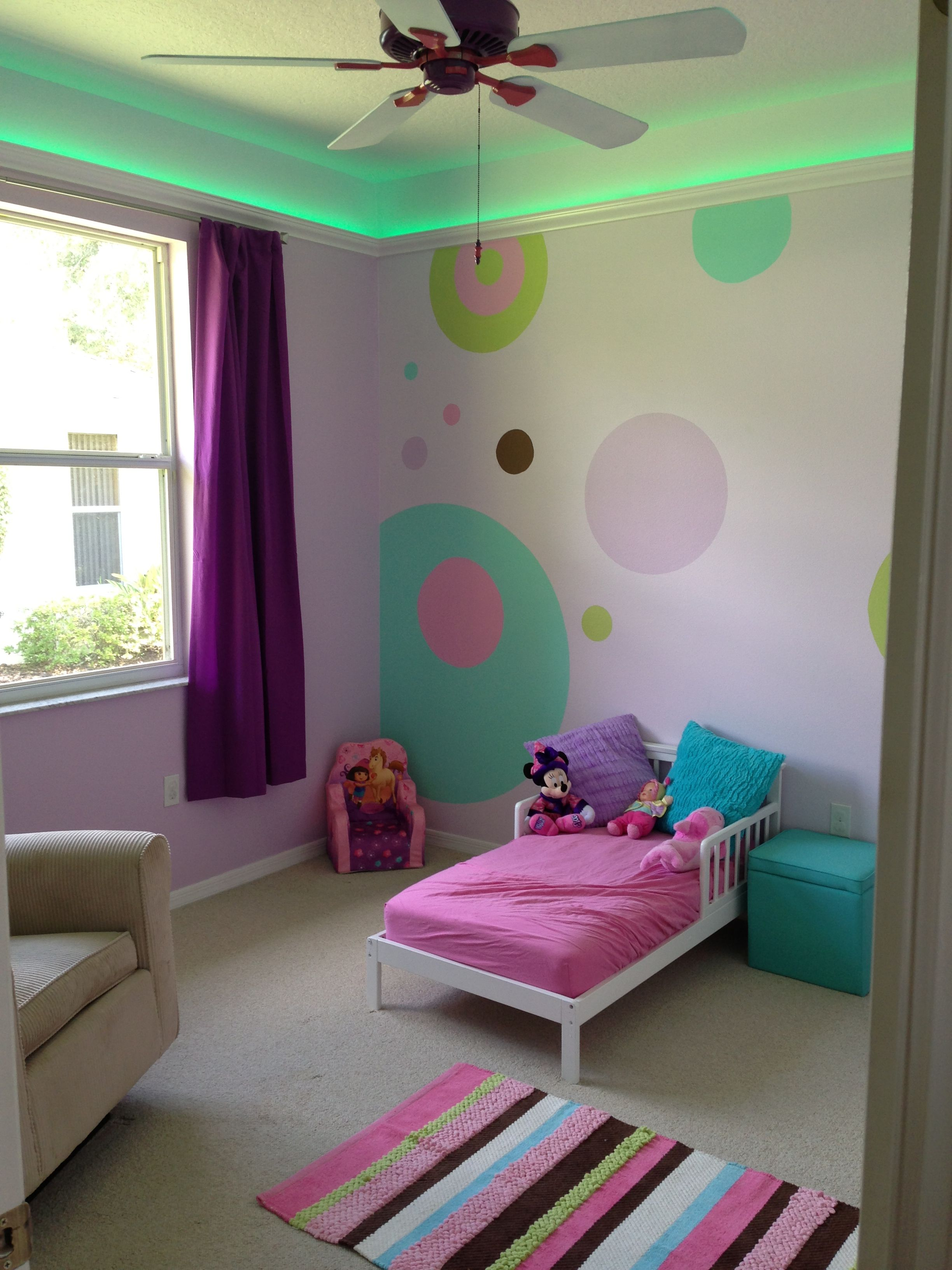 our little girl s room with led lighting in the crown molding and rh pinterest com