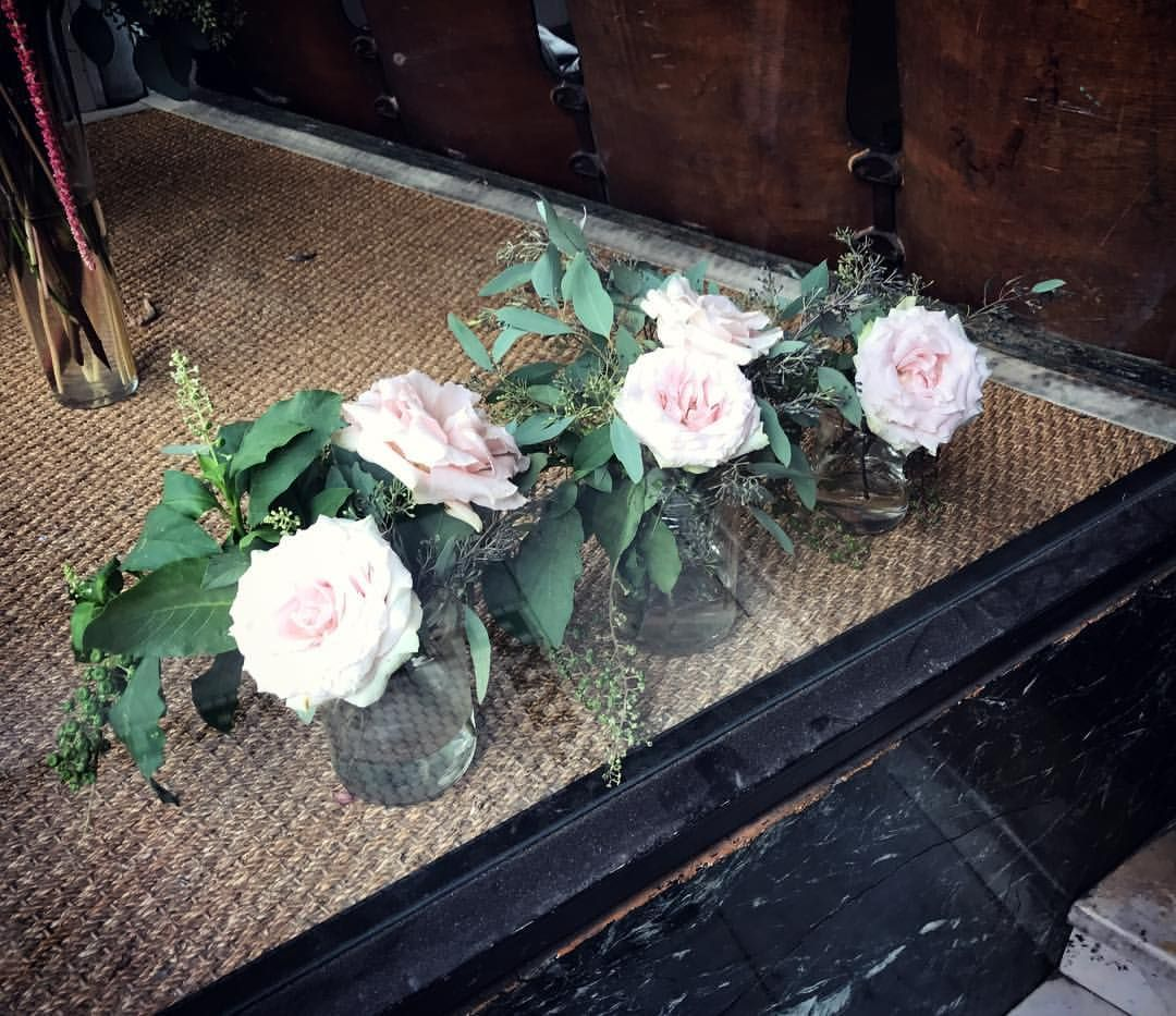 Pink garden roses with eucalyptus and pokeberry (window display at an art gallery in SanFrancisco)
