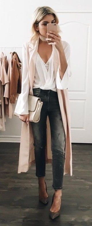 Light Pink Duster + White Blouse + Gray Denim