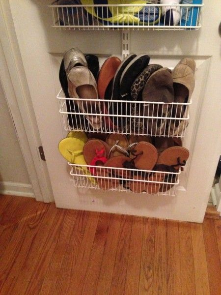 If You Love To Wear Sandals And Flats, Attach Narrow Wire Baskets To The  Bottom Of Your Coat Closet Door And Store Your Shoes There.