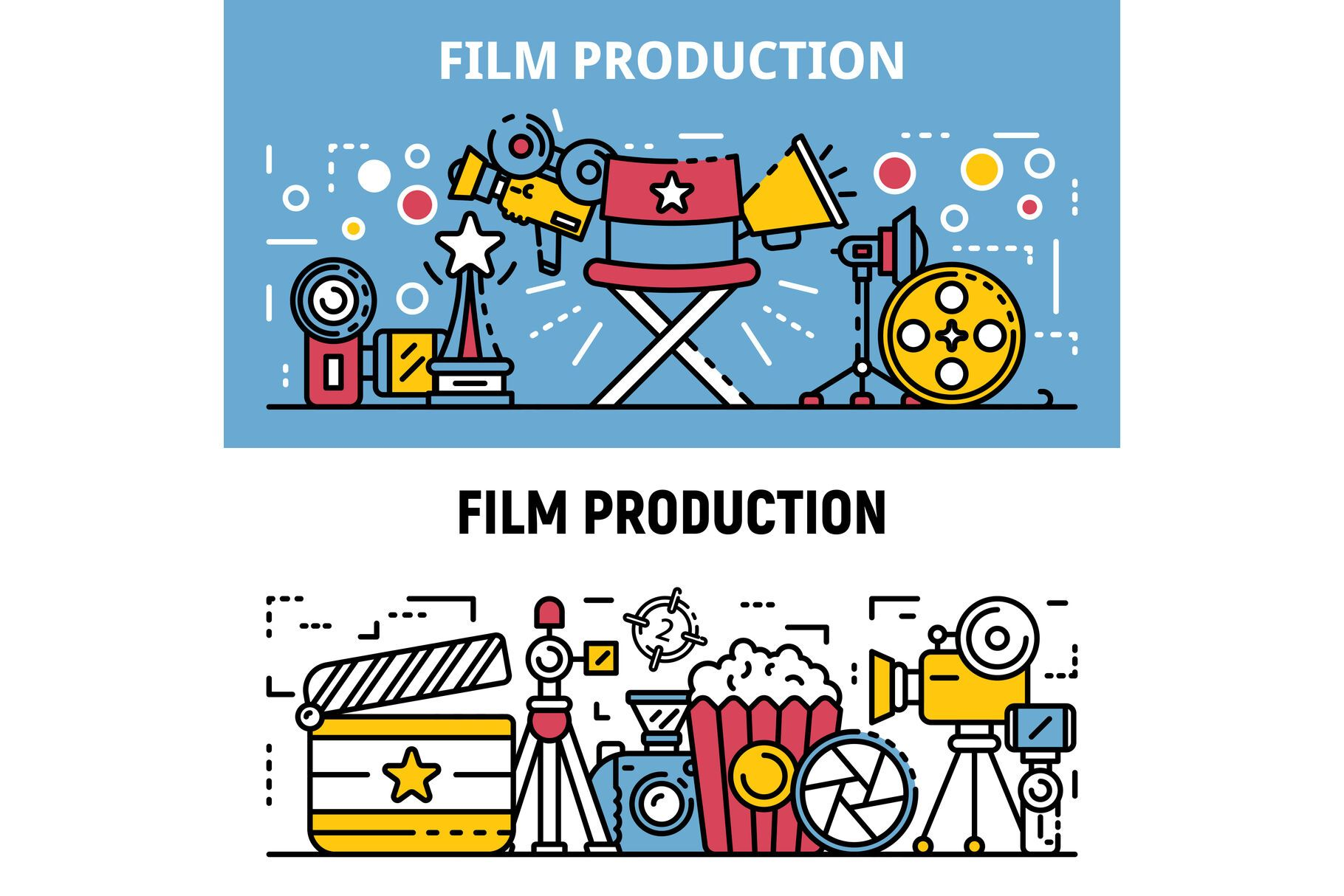 Film Production Banner Set Outline Style By Ylivdesign Thehungryjpeg Com Banner Ad Set Film P In 2020 Creative Resume Template Layout Film Production Banner