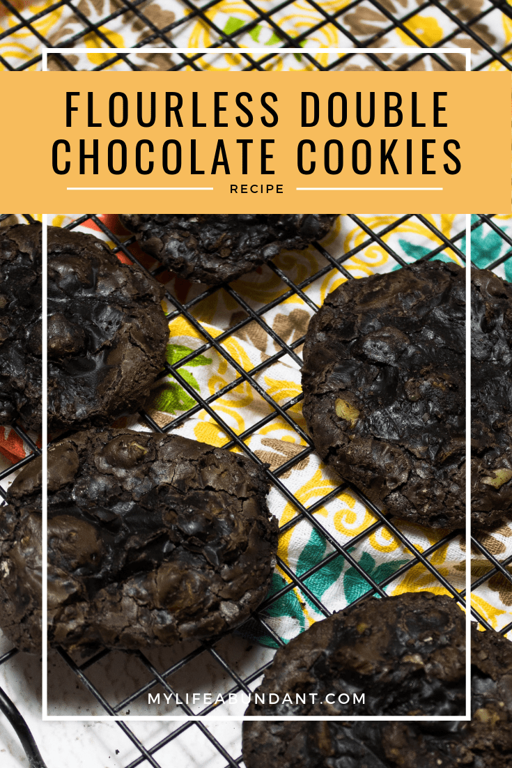Double Chocolate Cookies Chocolate goodness is the only way to describe these cookies. Easy to make, flourless and will remind you of a gooey brownie.Chocolate goodness is the only way to describe these cookies. Easy to make, flourless and will remind you of a gooey brownie.