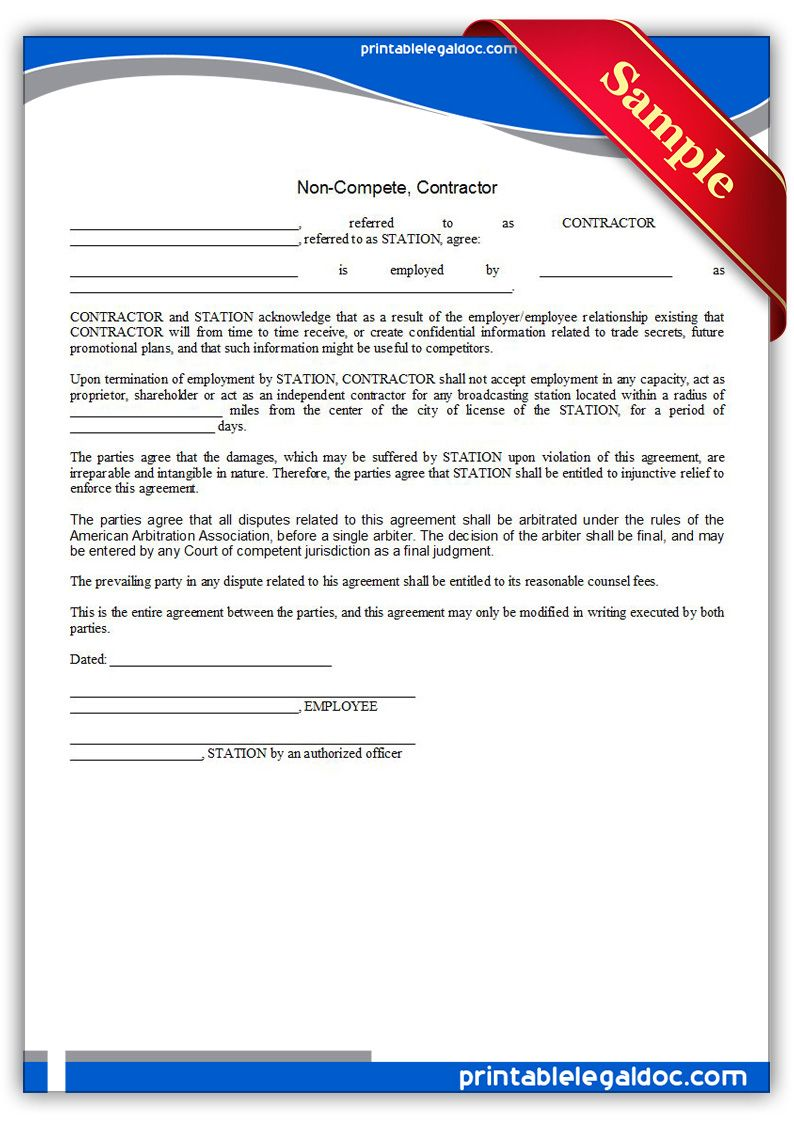 Free Printable Noncompete, Contractor Legal Forms
