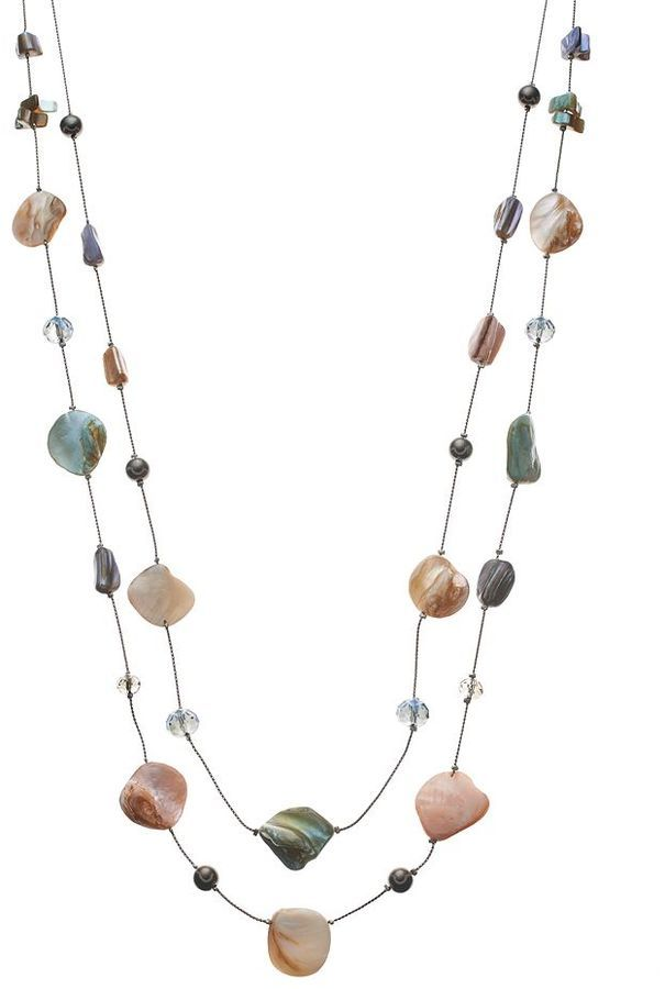bead long multistrand necklace