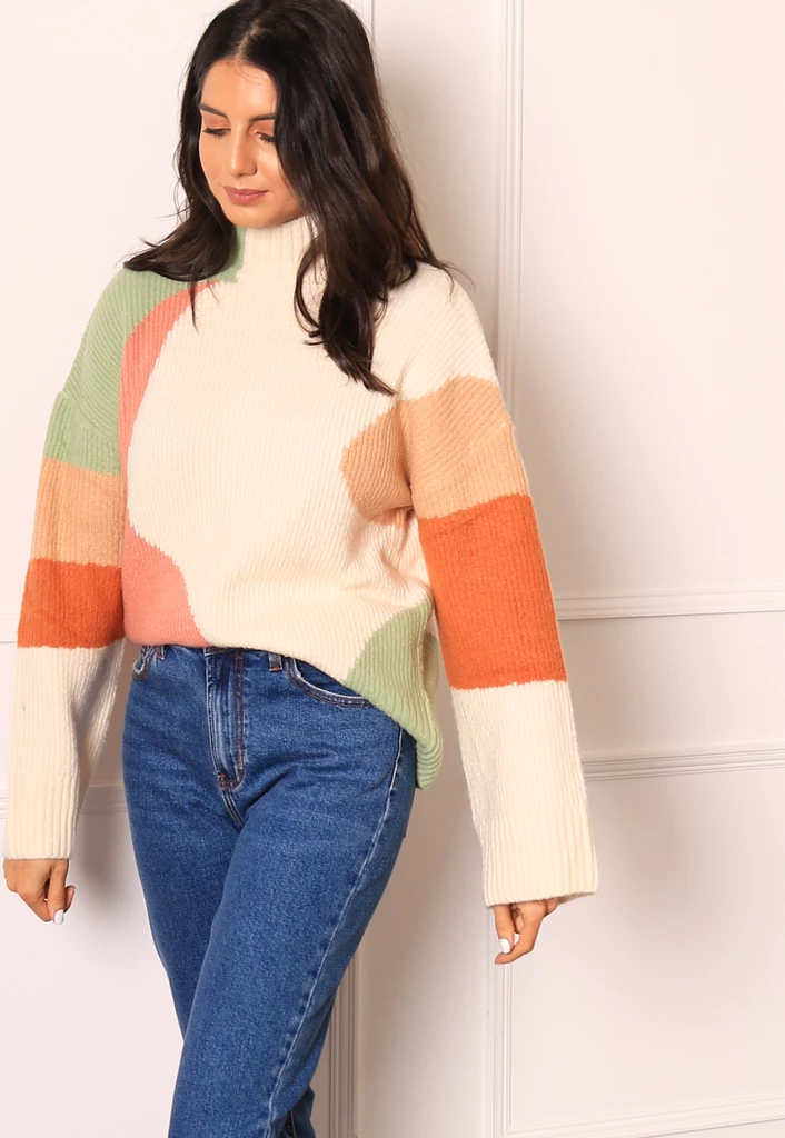 NEON ROSE High Neck Colour Block Chunky Knit Jumper in Multi #chunkyknitjumper